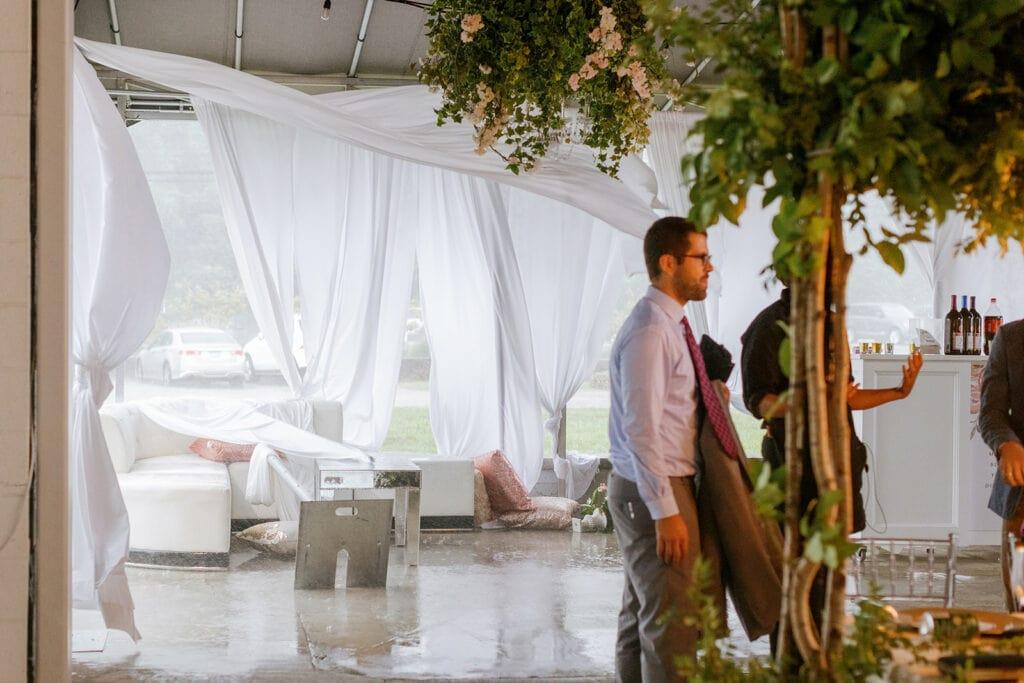 Semi outdoor wedding effected by mini hurricane