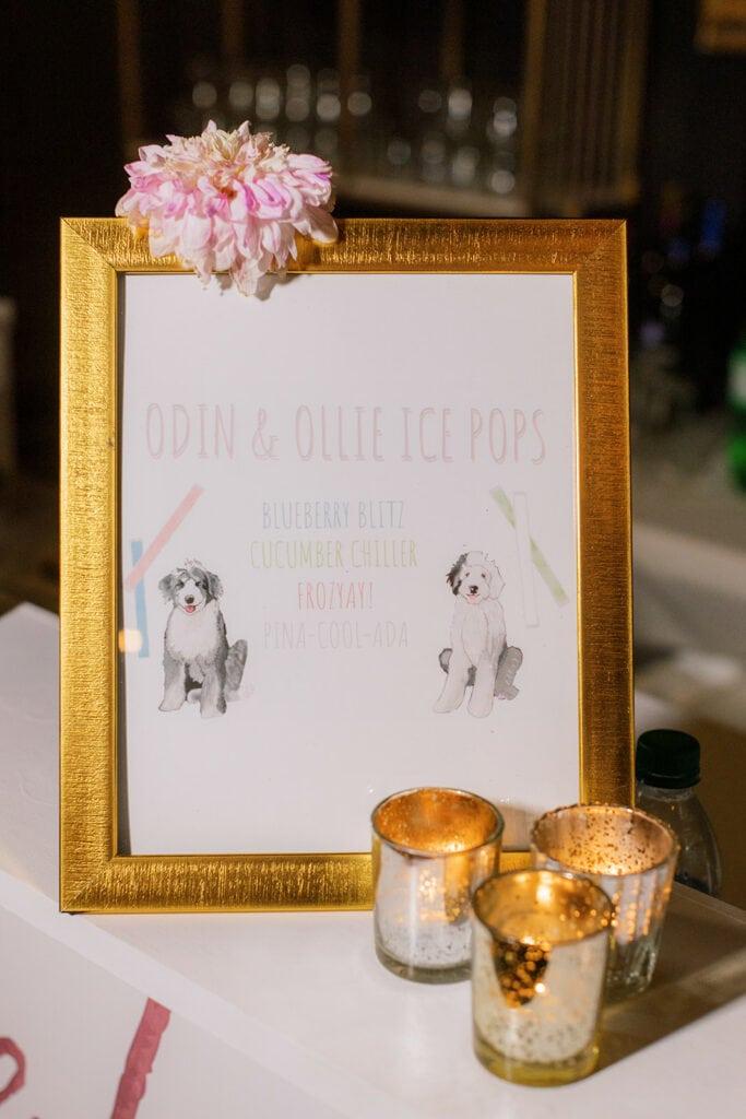 Custom ice pop wedding sign