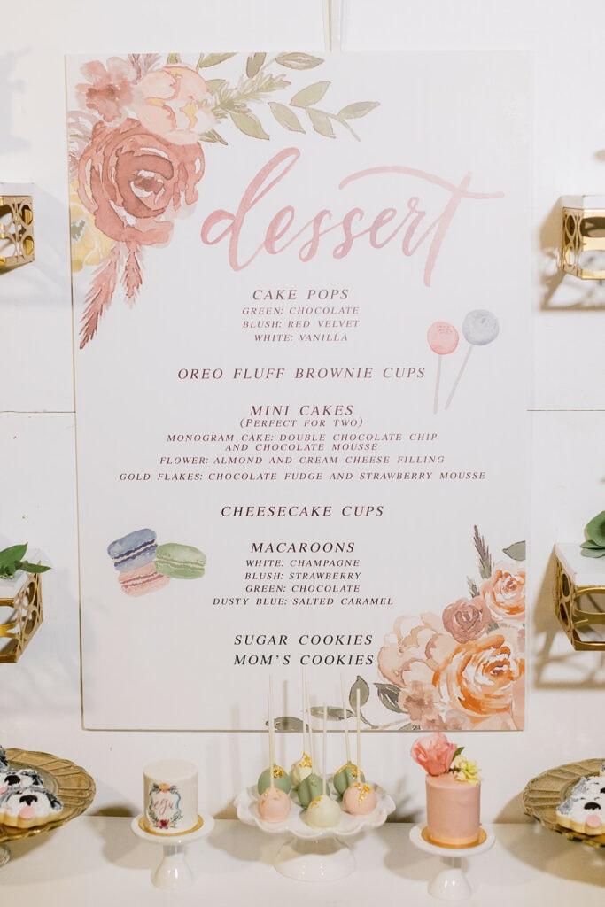Pink and white wedding dessert menu
