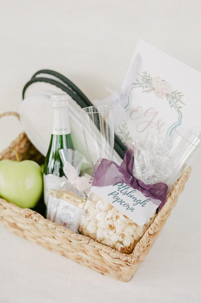 Wicker wedding welcome basket