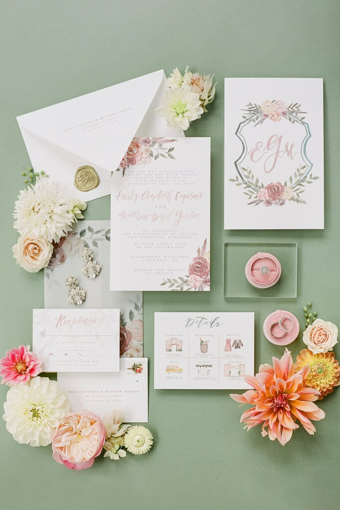 Custom monogrammed pink and white wedding stationery