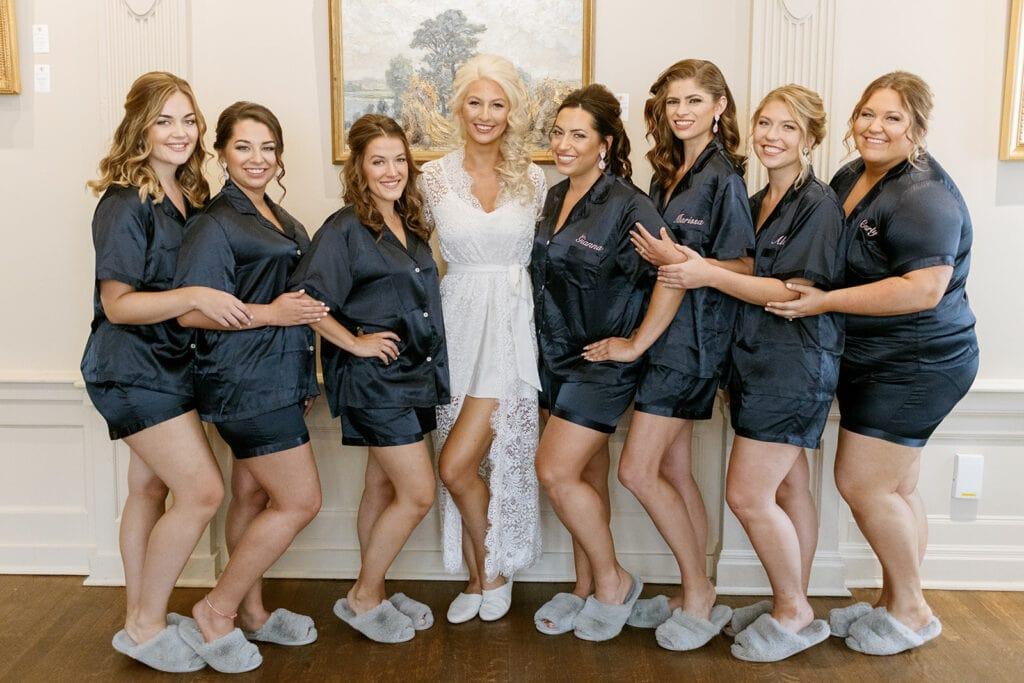 Navy blue bridal party pajamas