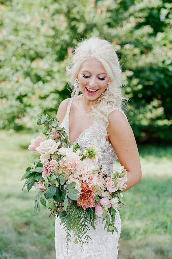 Pink and white wedding bouquet design