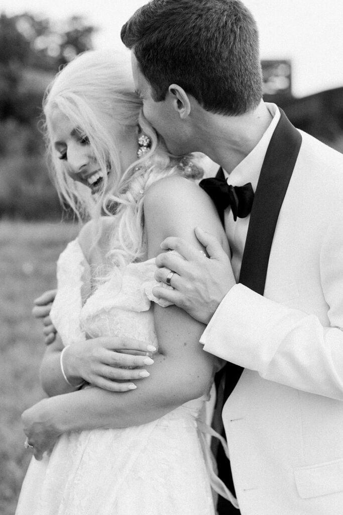 Black and white wedding portrait by Pittsburgh wedding photographer Lauren Renee