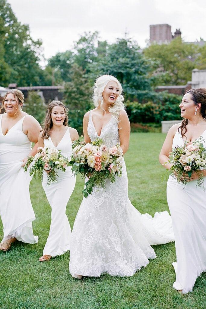 Bridal party portraits in Mellon Park