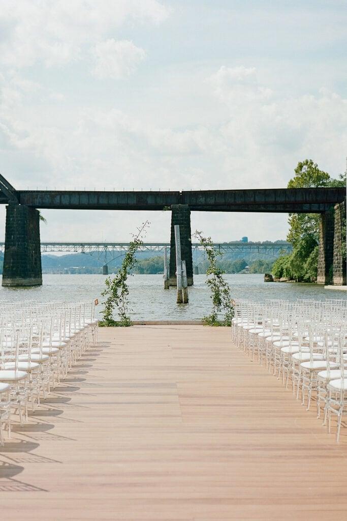 Outdoor Riverfront wedding ceremony