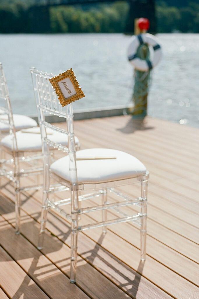 Clear chiavari wedding ceremony chairs