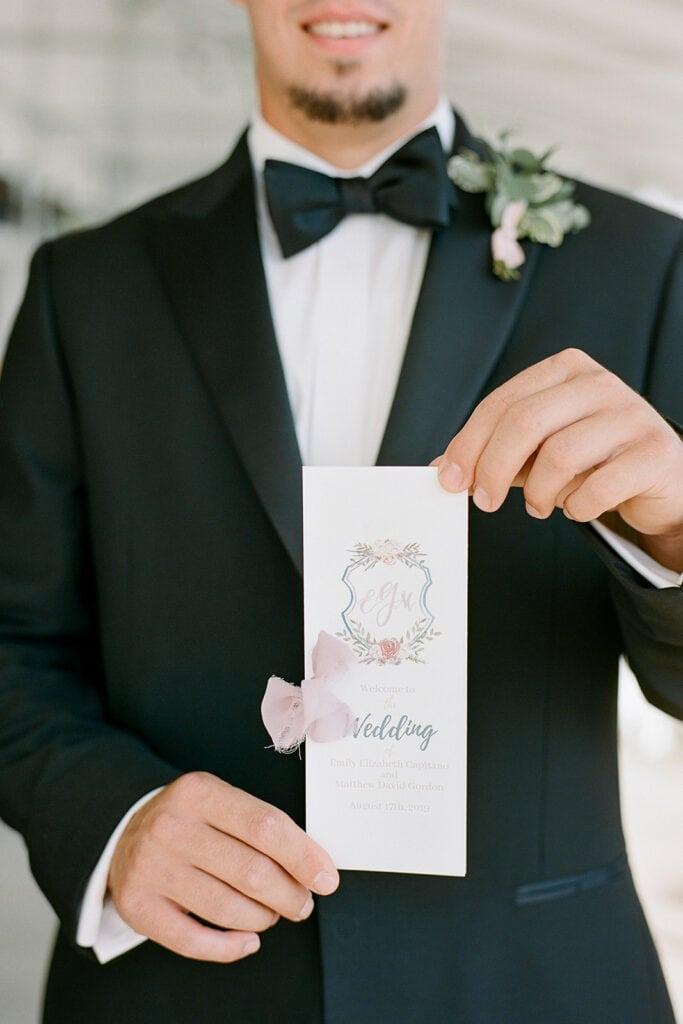 Custom monogrammed wedding ceremony programs