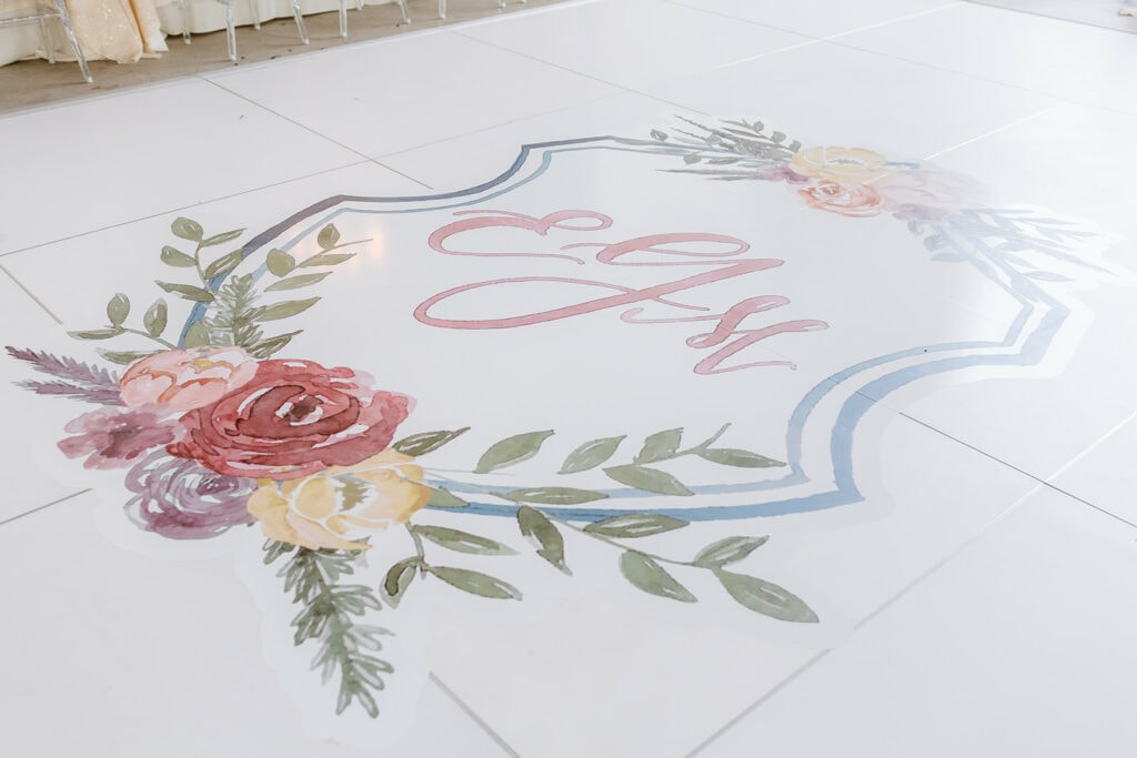 Custom monogrammed dance floor