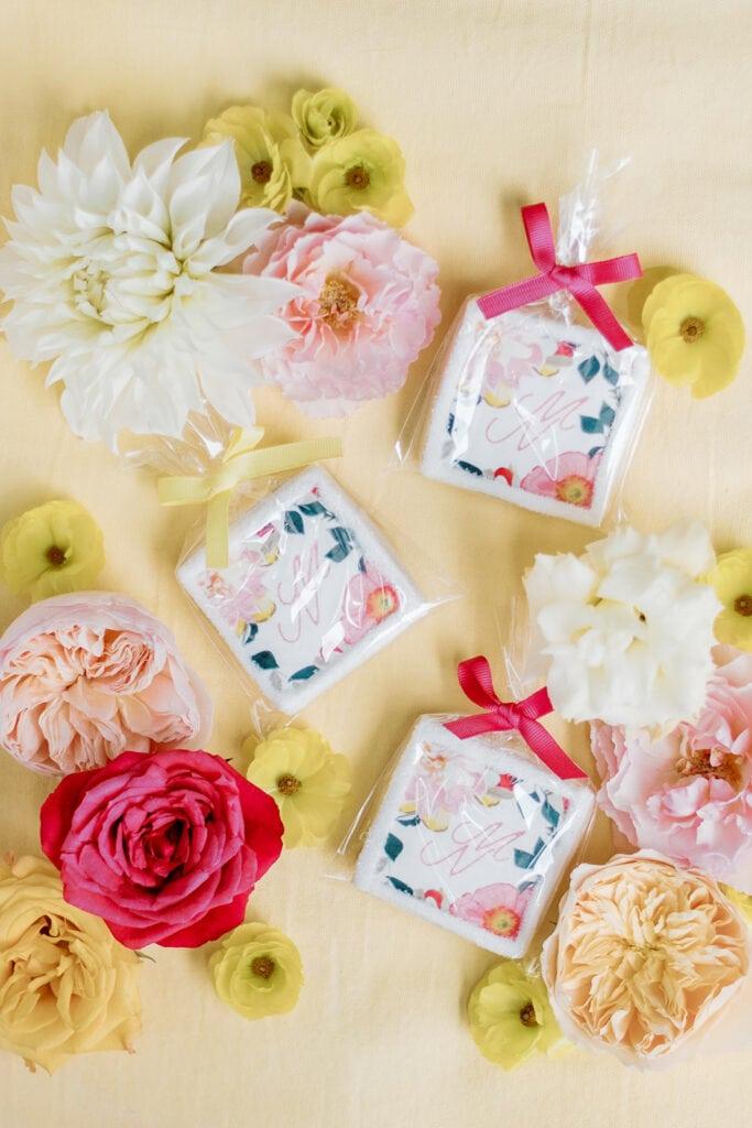 Monogrammed floral cookies