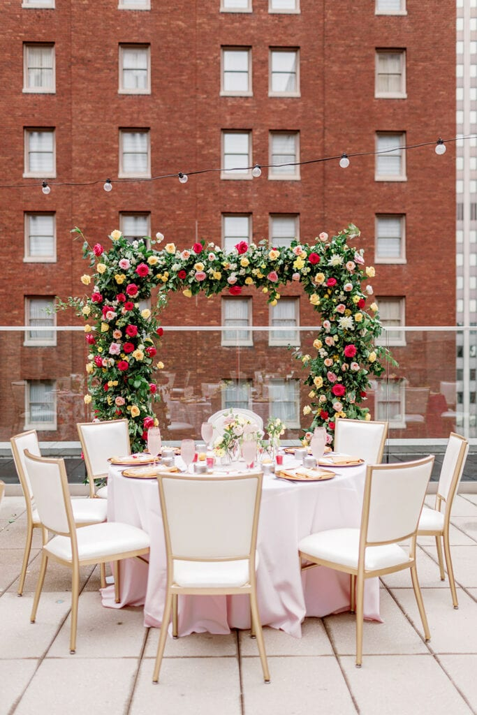 Colorful rooftop bridal shower