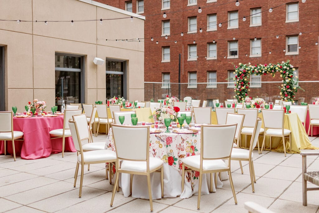 Colorful rooftop bridal shower wedding decor