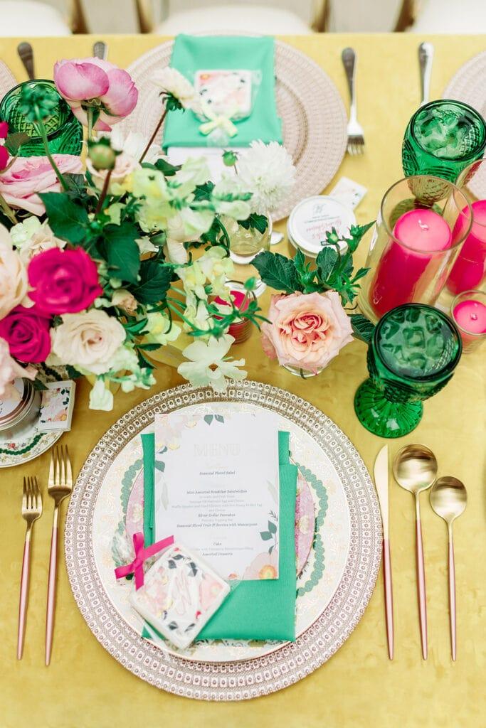 Colorful bridal shower table decor