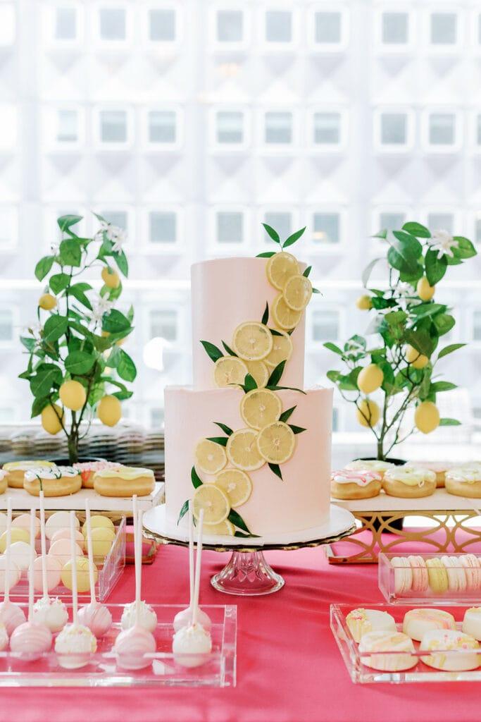Tasty Bakery lemon inspired bridal shower cake