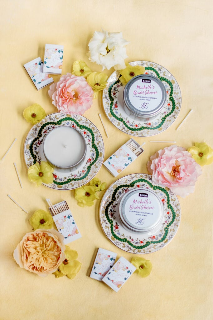 Custom candles and matches bridal shower favors