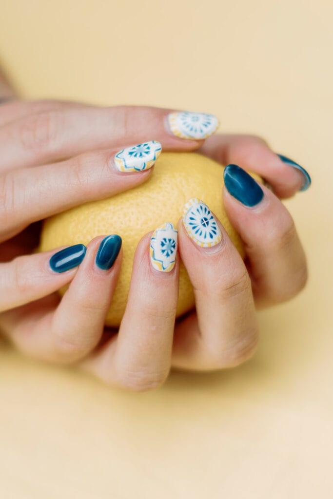 Lemon inspired bridal shower nails