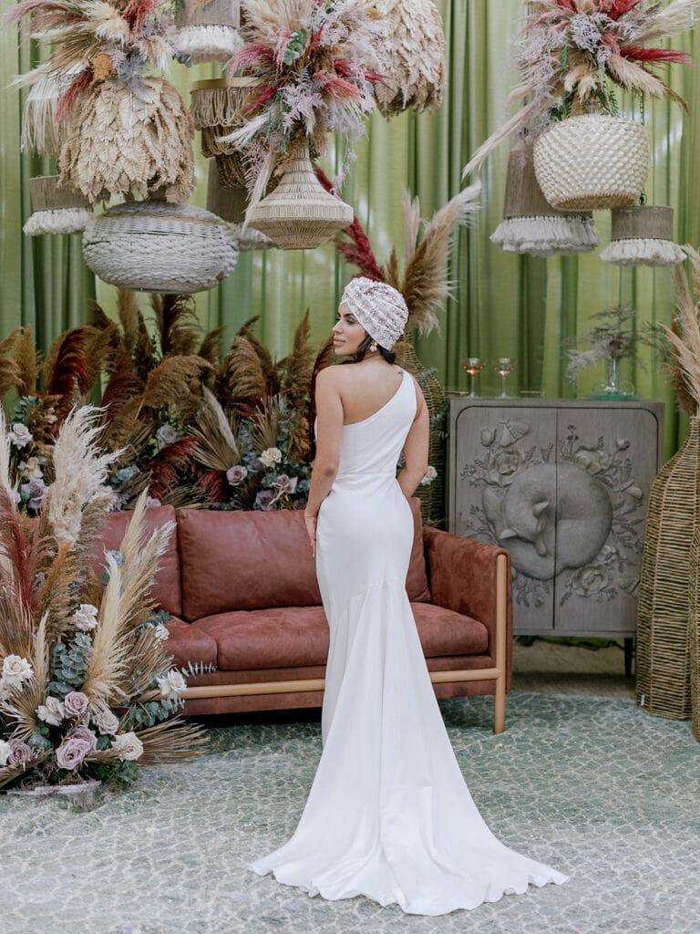 BHLDN one shoulder wedding dress