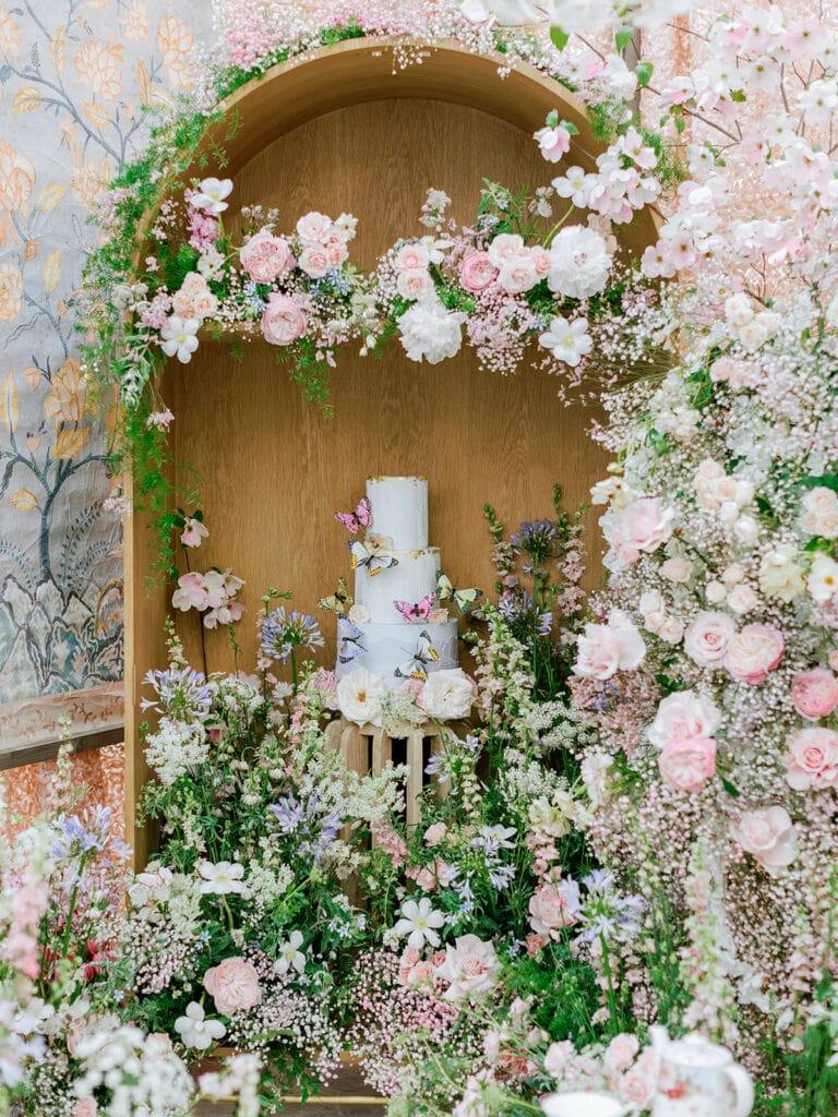 Wedding cake display with flowers