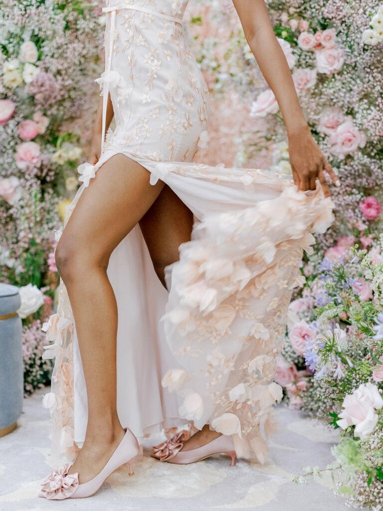 Floral wedding dress with side slit