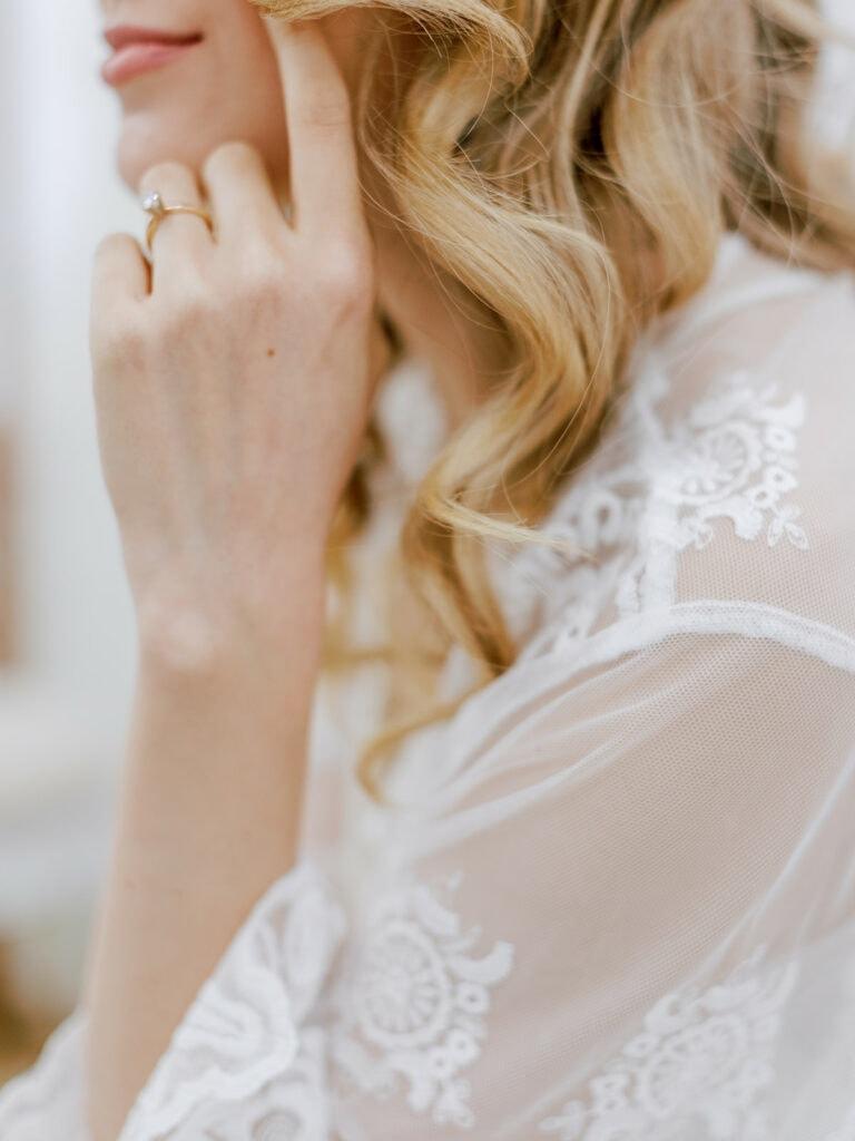 Lace wedding getting ready robe