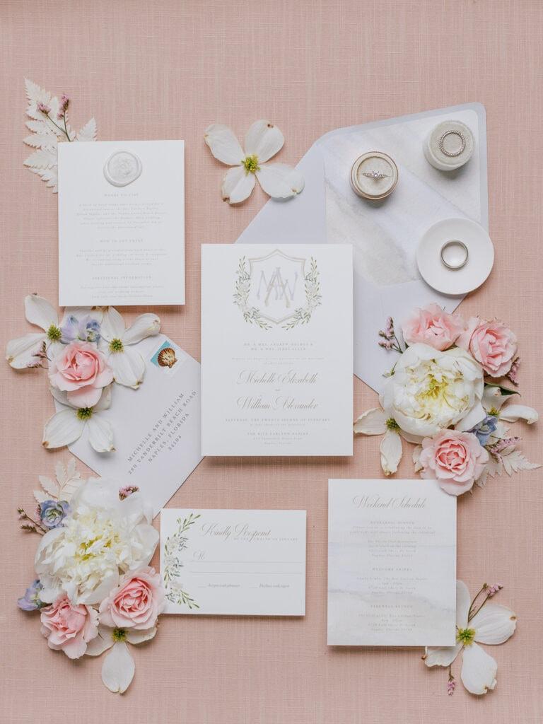 Timeless wedding invitation suite design
