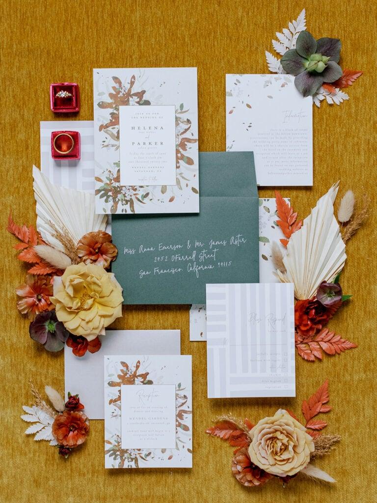 Bohemian wedding stationery design