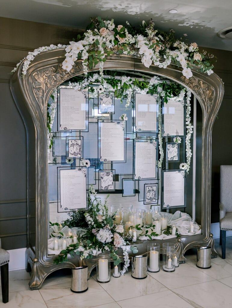 Modern mirror wedding seating display