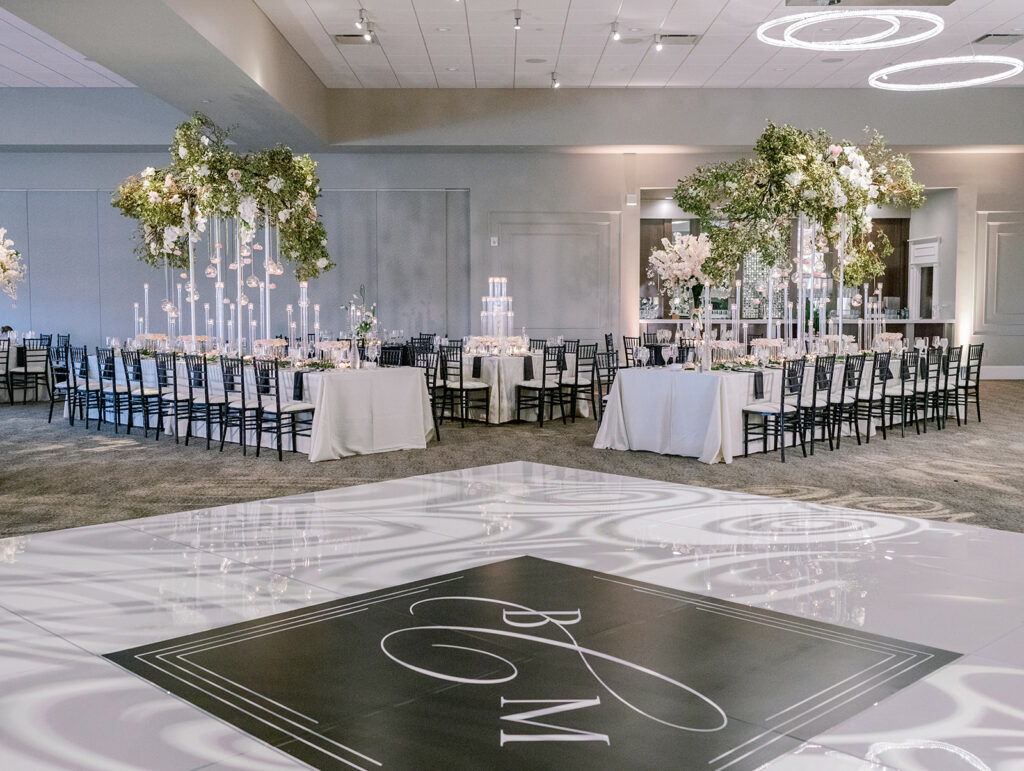 Monogrammed black and white wedding dance floor