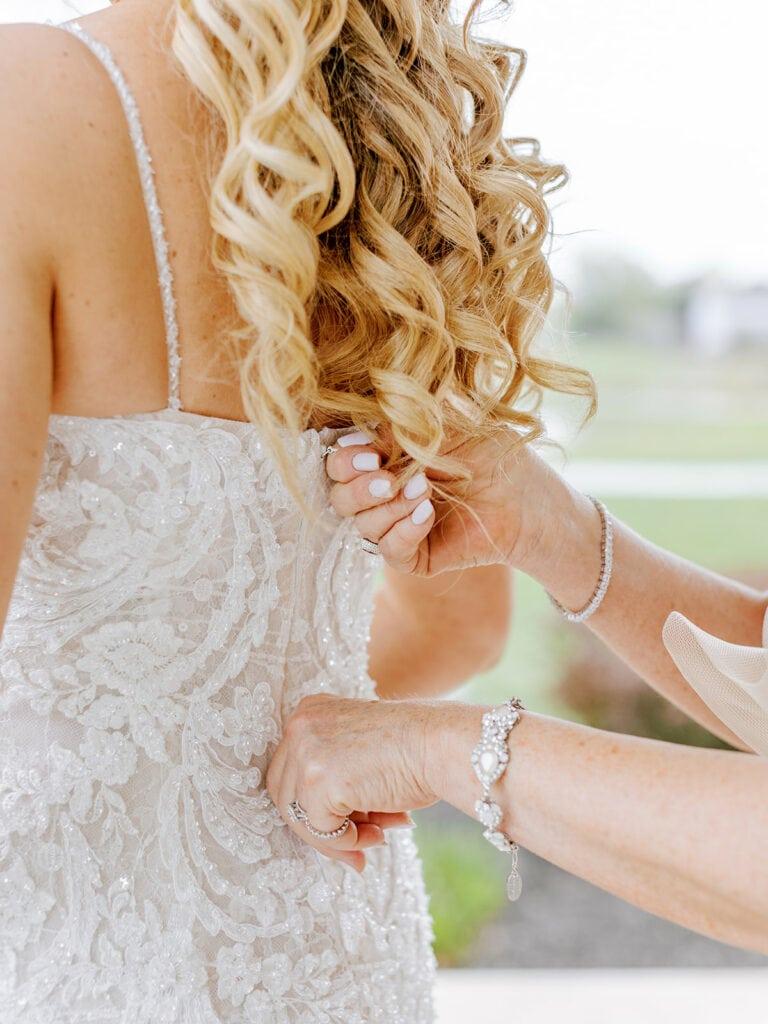 Embellished wedding dress details