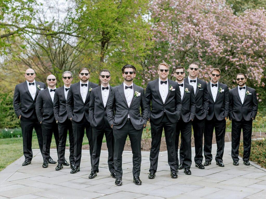 Groom and groomsmen in Enzo Custom tuxedos