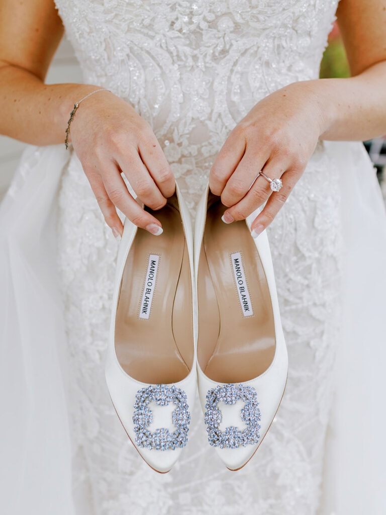 Ivory Manolo Blahnik wedding shoes