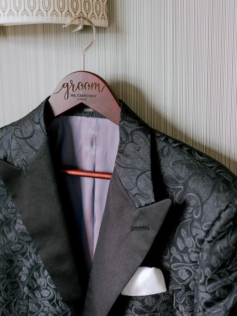 Embroidered black wedding tuxedo jacket
