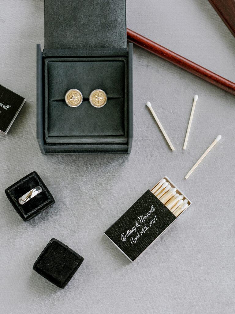 Personalized black wedding matchbox