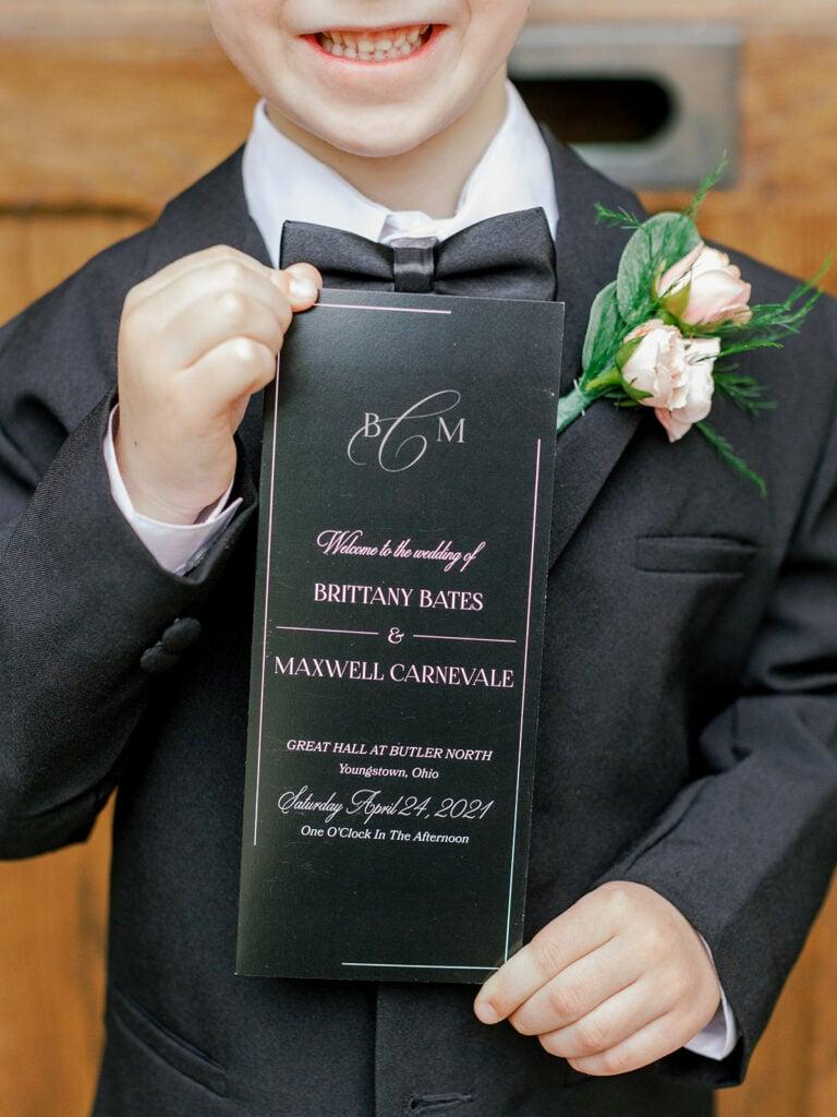 Black and white wedding ceremony program