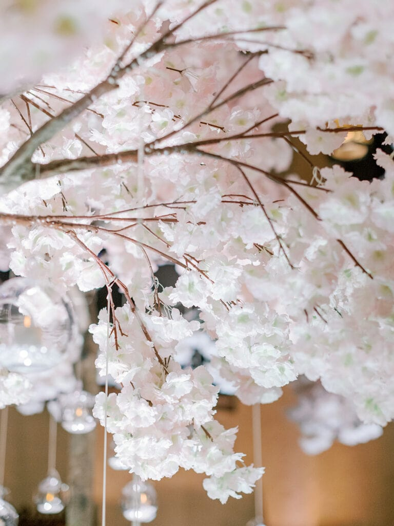 Cherry blossom tree wedding ceremony decor