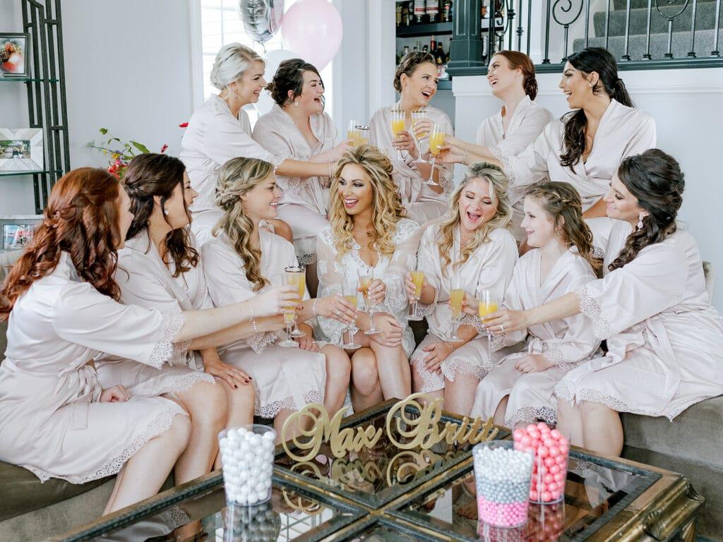 Bridal party mimosa toast