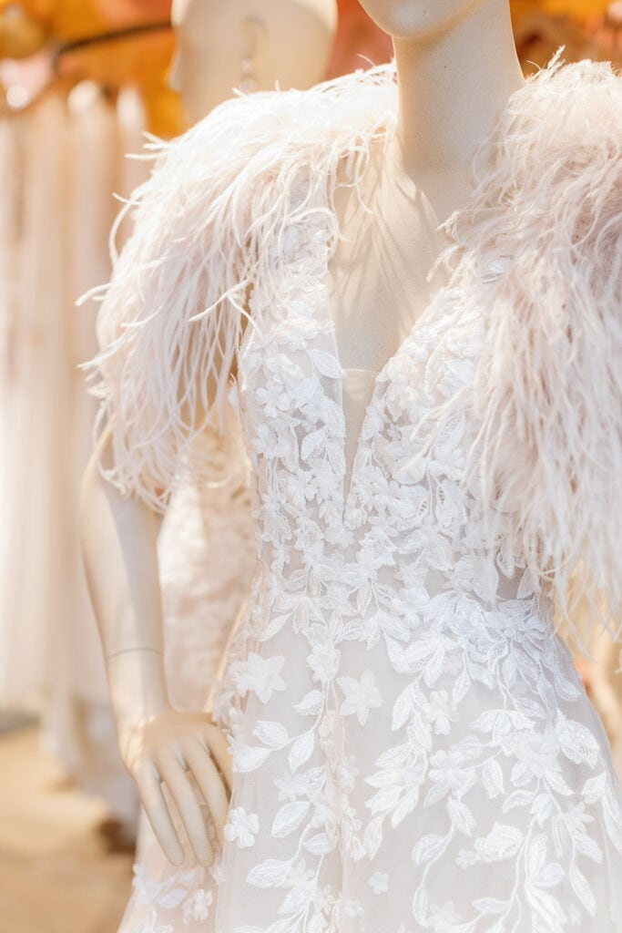 Textured sleeve BHLDN wedding dress
