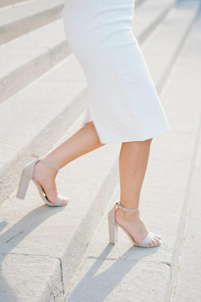 Nude open-toed engagement photo heels