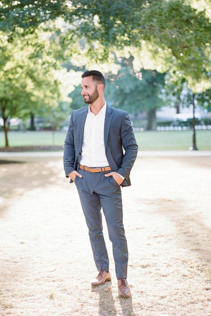 Navy Blue engagement photo suit