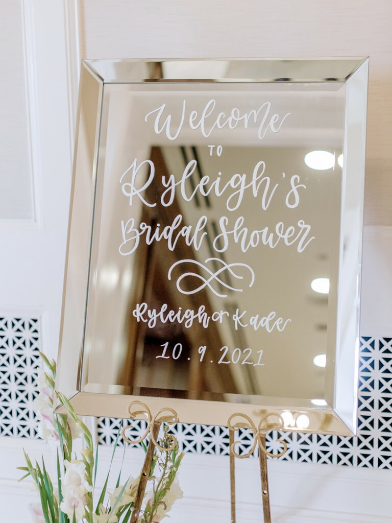 Mirror Bridal Shower Welcome Sign