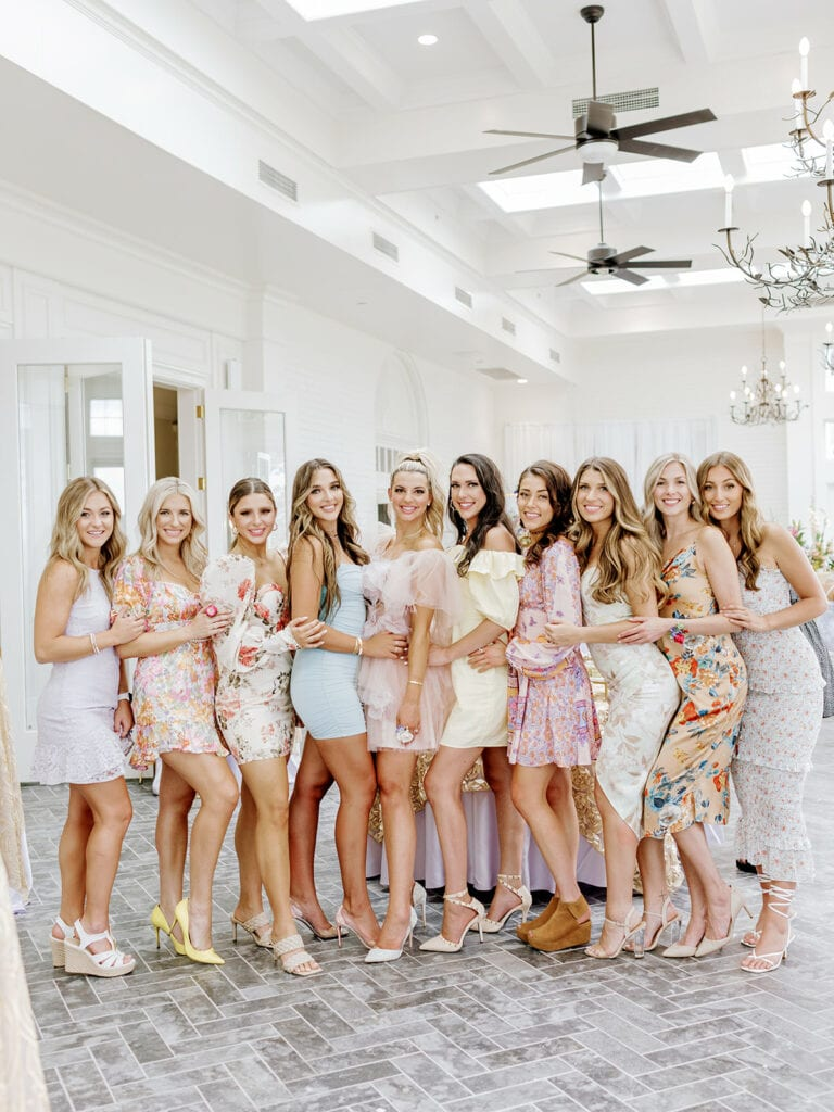 Sincerely Ryleigh and bridesmaids at garden inspired wedding shower