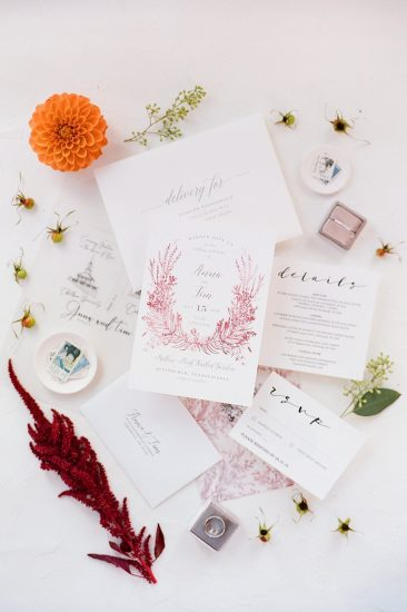 layflat invitation suite with farmers daughter flowers the mrs. box and vellum insert