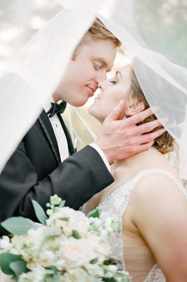 bride and groom romantic portrait under veil