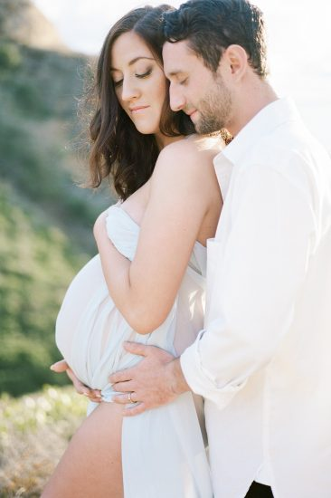 Maternity session on the beach in San Diego husband and wife