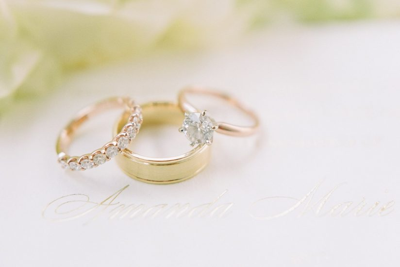 photo of rose gold solitaire engagement rings with bands on invitation