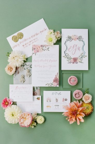 invitation suit designed by oh joyful day for riverfront wedding
