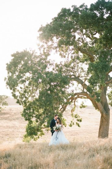 bride and groom standing under a tree at kestrel park
