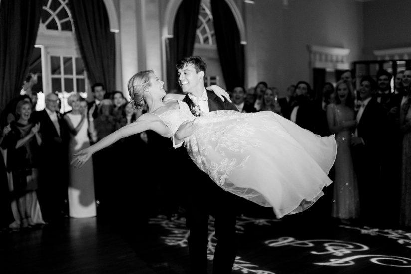 Wedding first dance: Black Tie Fox Chapel Golf Club Wedding captured by Pittsburgh wedding photographer Lauren Renee